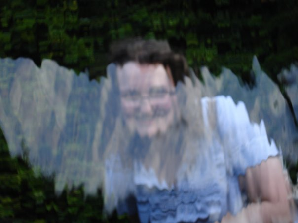 Me through a water feature at Alnwick Garden