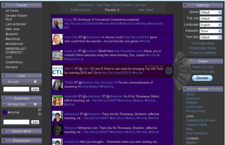 Twitterfall #lrnchat screen capture