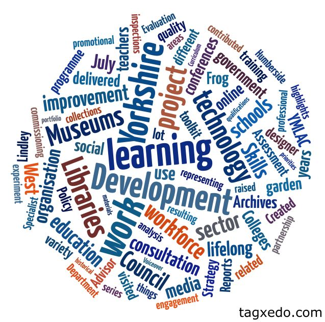 I made this tag cloud using Tagxedo (a free tool)