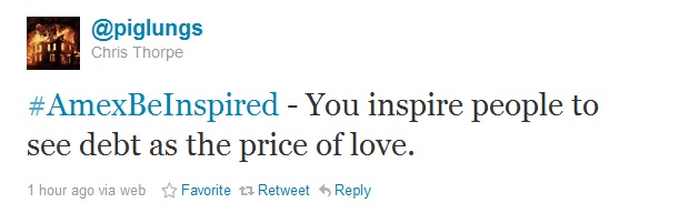 Tweet reads 'you inspire people to see debt as the price of love'
