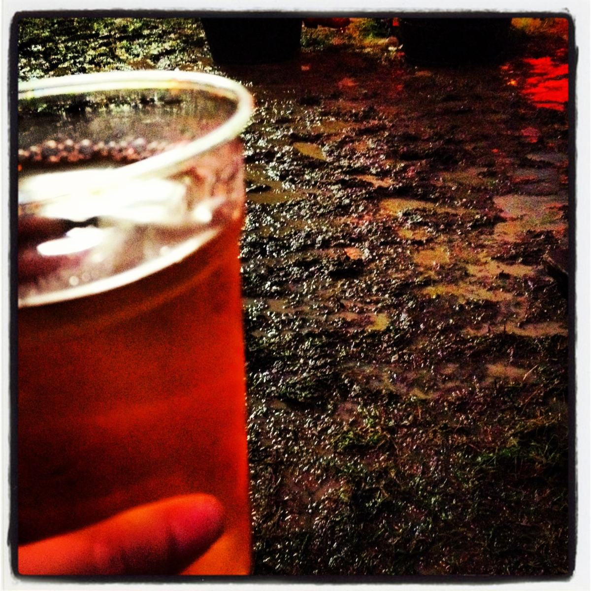 Crazy Goat cider in a muddy Jesus Arms at Greenbelt 2012