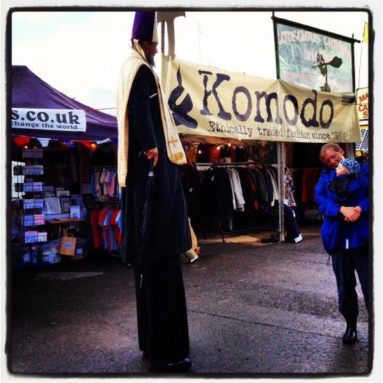 A man dressed as a bishop on stilts at Greenbelt 2012!
