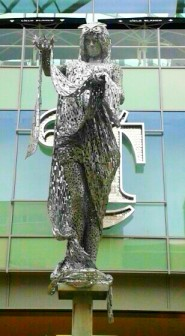 The Briggate Minerva - statue at the new Trinity Centre, Leeds. Minerva is the goddess of wisdom.