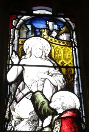 St Thomas depicted in a window at Bradford Cathedral