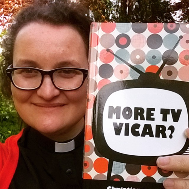 picture of Bryony Taylor holding up her book More TV Vicar?