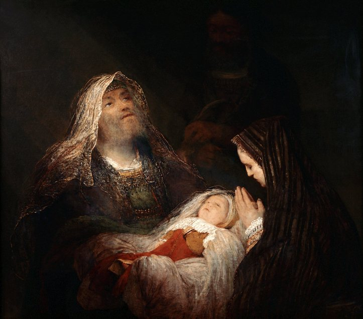 Painting of Simeon holding the baby Jesus