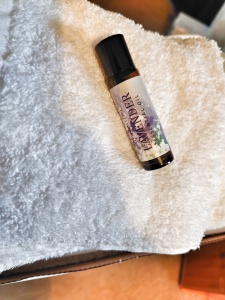 Picture of a white flannel with some lavender oil